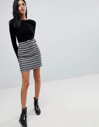 Asos Design Mini Skirt in Check with Self Belt