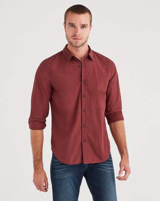 7 For All Mankind Long Sleeve Washed Poplin Shirt in Dark Burgundy