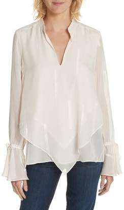 Derek Lam 10 Crosby Clipped Stripe Handkerchief Silk Blend Blouse