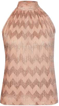 Dorothy Perkins Womens Rose Gold Chevron Halter Neck Top