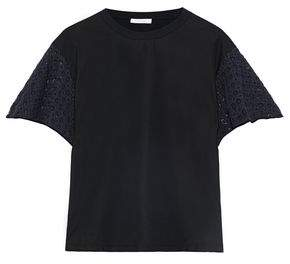 See by Chloe Two-Tone Crochet-Paneled Cotton-Jersey T-Shirt