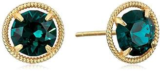 Swarovski 10k Gold Made with Birthstone October Stud Earrings