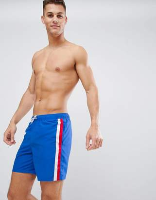 Asos DESIGN swim shorts with stripe side tape in mid length