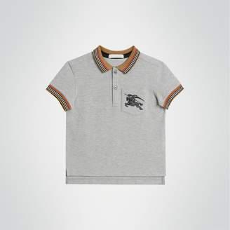 Burberry Childrens Icon Stripe Detail Cotton Polo Shirt