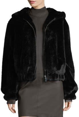 Helmut Lang Hooded Faux-Fur Bomber Jacket