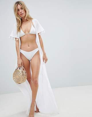 Asos Design Maxi Beach Kimono With Tassel Trim