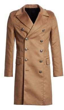 Balmain Manteau Croise Long Wool Coat