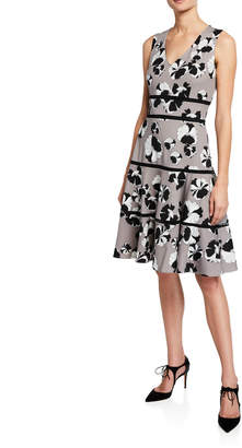 Taylor Crochet Trim Floral Print A-Line Dress