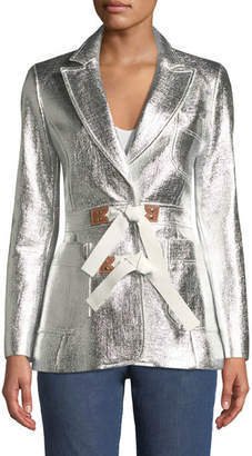 Altuzarra Metallic Coated Tweed Jacket