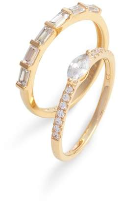 Nordstrom Set of 2 Cubic Zirconia Stacking Rings