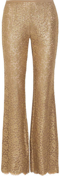 Michael Kors Collection - Metallic Guipure Lace Flared Pants - Gold