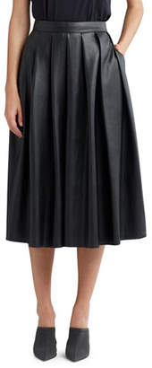 Hudson Pleated Faux-Leather Midi Skirt
