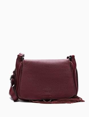 Calvin Klein edged leather fringe small crossbody bag