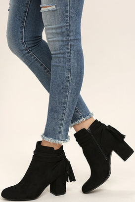 Philipa Black Suede Ankle Booties $45 thestylecure.com