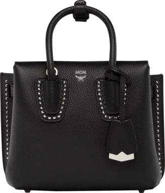 MCM Milla Studded Outline Tote In Grained Leather