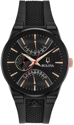 Bulova Men Latin Grammy Black Silicone Rubber Strap Watch 41mm