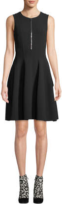 Michael Kors Zip-Front Sleeveless Fit-and-Flare Stretch-Wool Crepe Dress