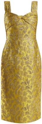 Prada Sweetheart-neck floral-brocade dress