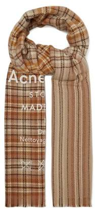 Acne Studios - Cassiar Check Oversized Wool Scarf - Mens - Beige