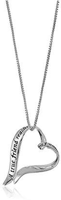 "Sterling Ribbon Heart""A True Friend. Touches Your Heart"" Pendant Necklace"