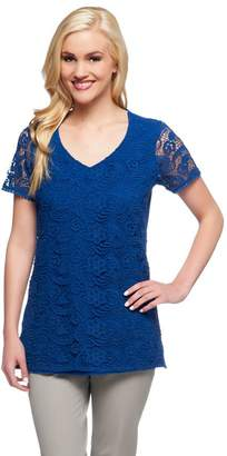 Liz Claiborne New York Short Sleeve Lace Front Knit Tunic