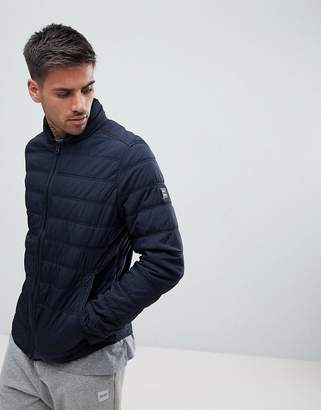 BOSS Nylon Thermal Padded Nylon Jacket In Navy
