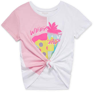 Arizona Short Sleeve Split Graphic Tie Front Tee - Girls' 4-16 & Plus