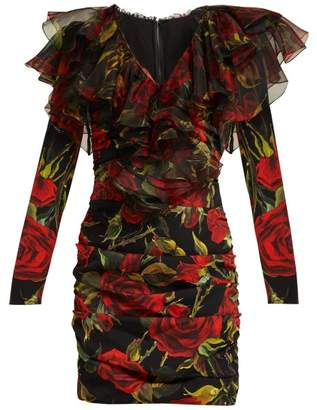 Dolce & Gabbana Roses Print Ruched Silk Blend Dress - Womens - Black Multi