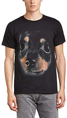 Printed Wardrobe Men's Big Face Animal Chihuahua Crew Neck Short Sleeve T-Shirt