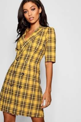 boohoo Check Button Blazer Dress