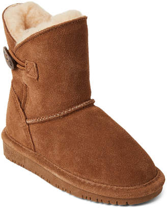 BearPaw Toddler Girls) Hickory Rosie Button Real Fur Boots