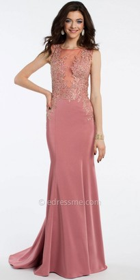 Camille La Vie Applique Illusion Prom Dress $220 thestylecure.com