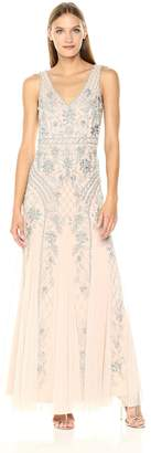 Adrianna Papell Women's Sleevless V Neck Fully Beaded Long Gown