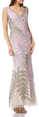 JS Collections Embroidered Leaf Gown