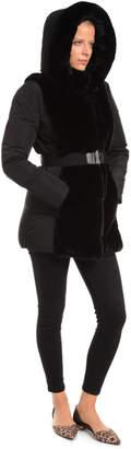 Patty Kim Faux Fur Trim Memory Down Coat w Belt & Hood