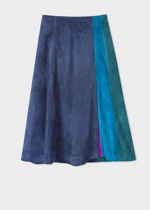 Paul Smith Women's Dark Navy Colour Block Suede Midi Skirt