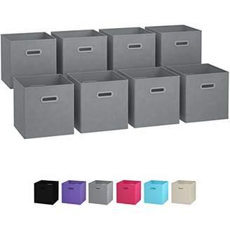 BEIGE Royexe - Storage Cubes - (Set of 8) Storage Baskets | Features Dual Handles | Cube Storage Bins | Foldable Fabric Closet Shelf Organizer | Drawer Organizers and Storage (Grey)