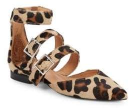 Leopard Print Pony Hair Ankle-Strap Flats