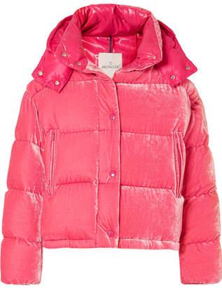 Moncler Quilted Velvet Down Jacket - Pink