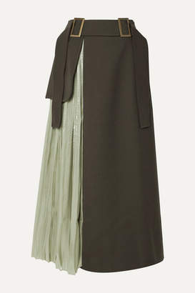 REJINA PYO Evie Paneled Wool-blend Twill And Pleated Satin Skirt - Army green