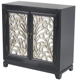 URBAN RESEARCH Homeroots 32' Black Wood Mirrored Glass Sideboard with 2 and Silver Paint