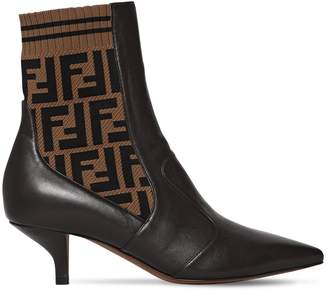Fendi 55mm Leather & Knit Ankle Boots