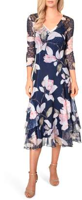 Komarov Floral Print Tiered Ruffle Chiffon Dress