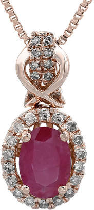 FINE JEWELRY 1/7 CT. T.W. Diamond and Lead Glass-Filled Ruby 10K Rose Gold Drop Pendant Necklace