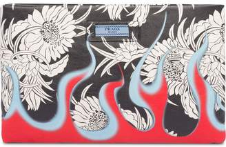 Prada floral flame print clutch bag