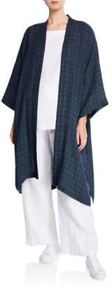 eskandar Grid-Woven Linen Kimono Coat