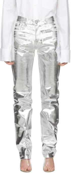 Silver Foil Effect Jeans