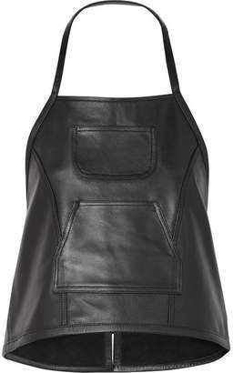 Sandy Liang - Congee Buckled Backless Leather Top - Black