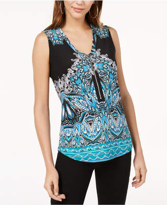 INC International Concepts I.n.c. Printed Zip-Neck Tank Top, Created for Macy's