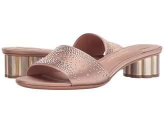 Salvatore Ferragamo Satin Low-Heel Pump With Crystals Women's Shoes